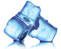 Ice cubes  on the white background Royalty Free Stock Images