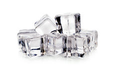 Ice cubes on white background. Royalty Free Stock Photography