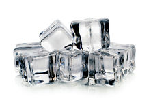 Ice cubes on white background. Stock Photos