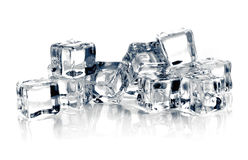 Ice cubes on white background. Stock Photography