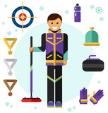 Ice curling sport game icons. Flat design vector illustration of ice curling sport game equipment. Smiling happy curler with curling broom. Including icons of Stock Image