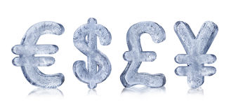 Ice Currency Symbols. European Euro, American Dollar, English Pound and Japanese Yen Signs made from ice Royalty Free Stock Photo