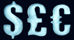 Ice currency symbols. Three currency symbols, dollar, pound and euro crafted from ice Stock Images