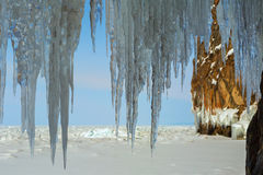 Ice curtain of icicles. Royalty Free Stock Images