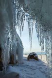 Ice curtain of icicles. Stock Photos