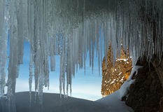Ice curtain of icicles. Royalty Free Stock Photography