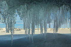 Ice curtain of icicles. Royalty Free Stock Photos