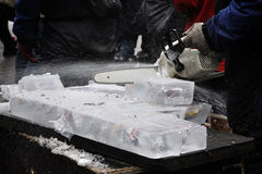 Ice cutting Stock Photography