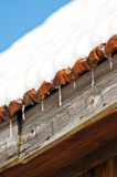 Ice cycles on a roof Royalty Free Stock Photos