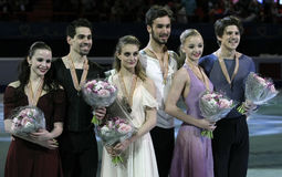 Ice Dance victory ceremony Stock Images