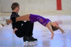 Ice dancing - Mariya Ukolova and Jaroslav Brtek. Mariya Ukolova and Jaroslav Brtek in the figure skating competion Grand prix in Prague held on 2.12.2012 Stock Images
