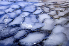 Ice designs in a frozen lake. Interesting shapes and patterns show up in this frozen lake Royalty Free Stock Photo