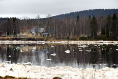 Ice discharging in the river Stock Photos