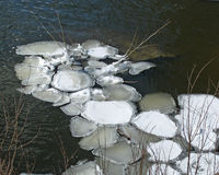 Ice disks on winter river. Icy disks that formed below a dam on the icy Elkhart River in Indiana royalty free stock photos