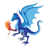 Ice dragon and fiery dragon. Illustration Stock Image