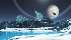 Ice Dragon. A magnificent ice dragon flying over a frozen lake on the ice planet. A fanciful blue Dragon Scene Royalty Free Stock Images