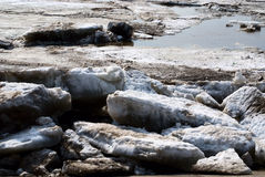 Ice drift. Spring ice drift on the Siberian river. Ice drift series Royalty Free Stock Images
