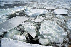 Ice Drift. Broken sheets of ice viewed from an ice breaker vessel Stock Photo
