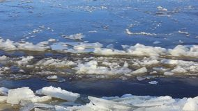 Ice drift on the big river. With a crash breaks the ice stock video footage