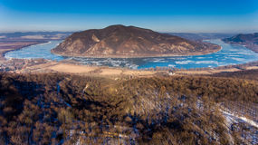 Ice drift on Danube river, Hungary, Visegrad. Aerial view hdr im Stock Photos