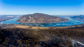 Ice drift on Danube river, Hungary, Visegrad. Aerial view hdr im Royalty Free Stock Images