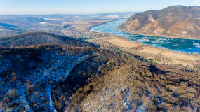 Ice drift on Danube river, Hungary, Visegrad. Aerial view hdr im Stock Photography