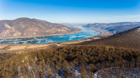 Ice drift on Danube river, Hungary, Visegrad. Aerial view hdr im Royalty Free Stock Image