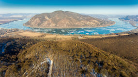 Ice drift on Danube river, Hungary, Visegrad. Aerial view hdr im Royalty Free Stock Photos