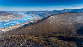 Ice drift on Danube river, Hungary, Visegrad. Aerial view hdr im Stock Images