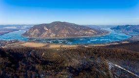 Ice drift on Danube river, Hungary, Visegrad. Aerial view hdr im Stock Photo