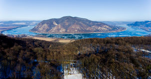 Ice drift on Danube river, Hungary, Visegrad. Aerial view hdr im Royalty Free Stock Photo
