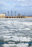 Ice drift and hydropower station Royalty Free Stock Photography