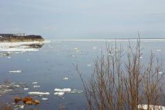 Ice drift on Lena River. In Yakutia royalty free stock photos