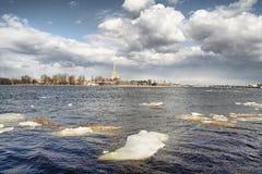 Ice drift on Neva river Royalty Free Stock Photo