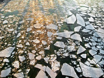 Ice drift on the river. Abstract background. Stock Images