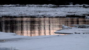 Ice drift on the river. River ice is destroyed in the spring stock video footage