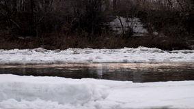 Ice drift on the river. River ice is destroyed in the spring stock footage