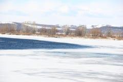 Ice drift on the river. Kama.Russia.Nizhnekamsk Royalty Free Stock Photography