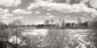 Ice drift on the river in Russia  the church Royalty Free Stock Image