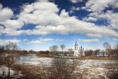 Ice drift on the river in Russia, the church on the shore, the i Royalty Free Stock Images
