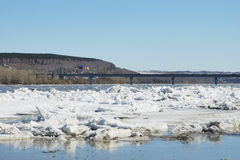 Ice drift on the river Stock Photos