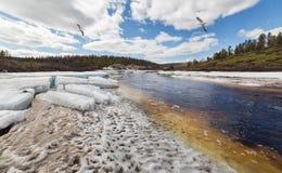 Ice drift on a small stream Stock Photos