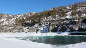 Ice drift on the turquoise river in the spring, Katun River, Altai. Russia stock video footage