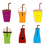 Ice drink and fruit juice vector Royalty Free Stock Images