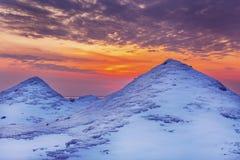 Ice Dunes on a Lake Huron Shoreline at Sunset Stock Image