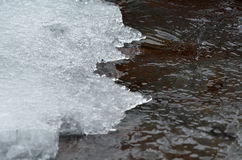 Ice edge of ice water crystals. On river bank Stock Photography