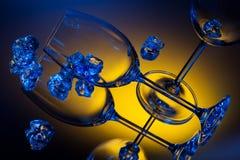 Ice and empty wineglasses Stock Image