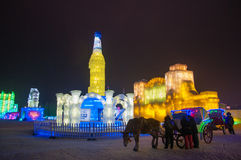 The ice engraving building in Harbin Royalty Free Stock Photography