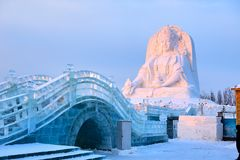 The ice engraving and snow sculpture sunset stock photography