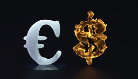 Ice euro and hot dolar Stock Images